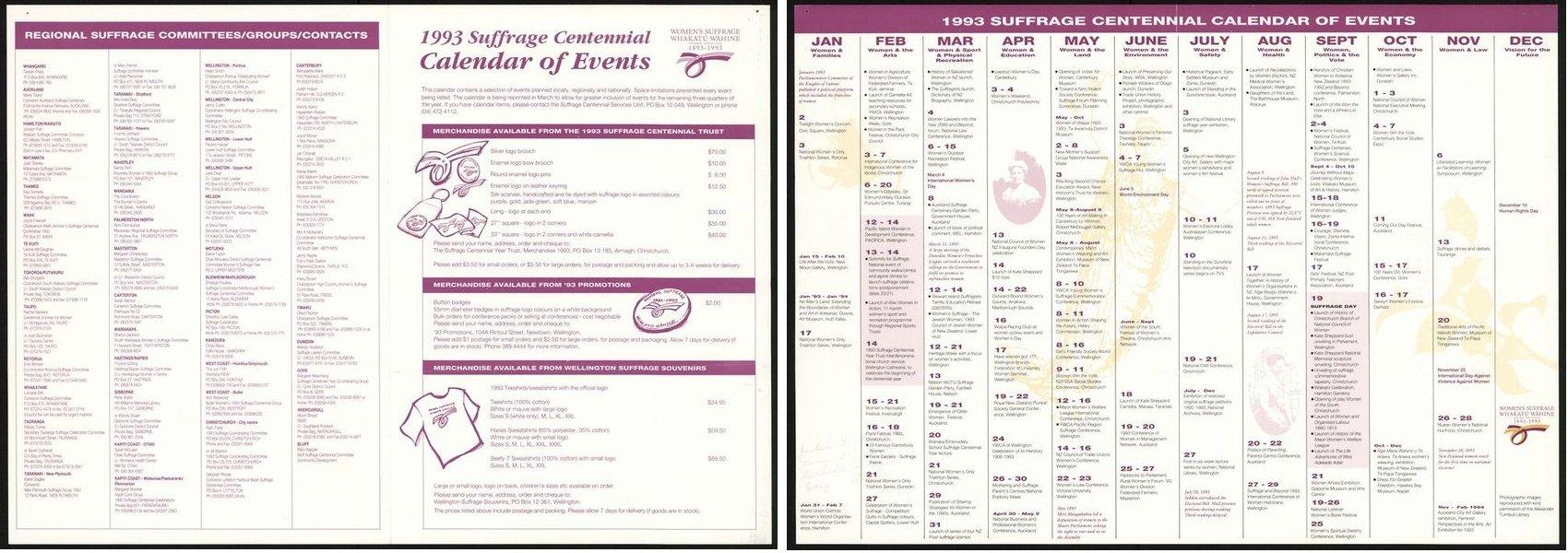 1993 Suffrage Centennial Calendar Of Events